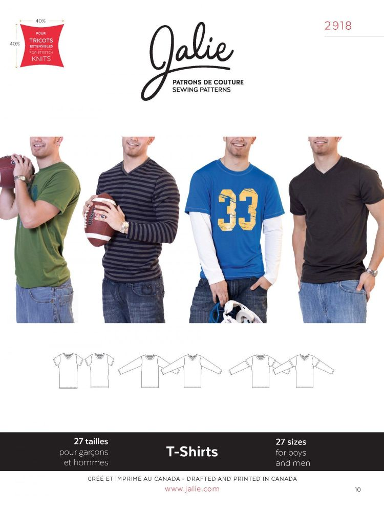 Jalie 2918 Boys and Men's T-Shirt Pattern