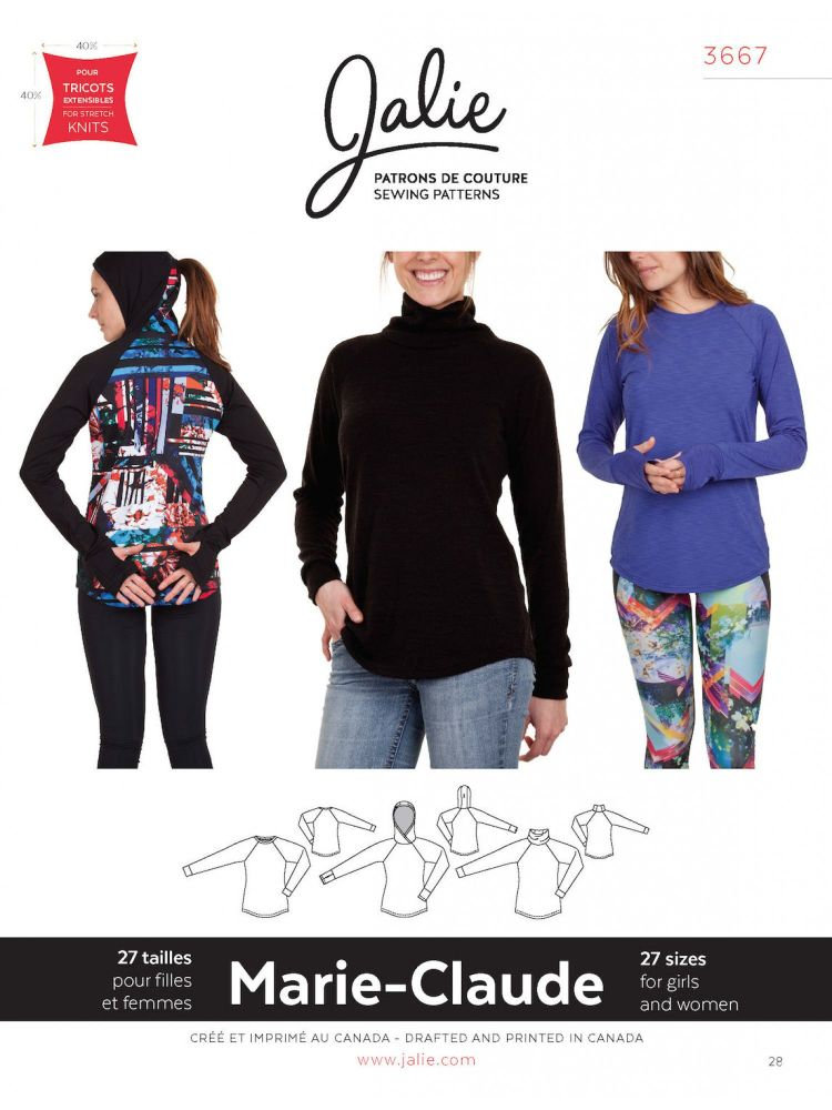 Jalie 3667 Marie-Claude Raglan Pullover For Girls And Women