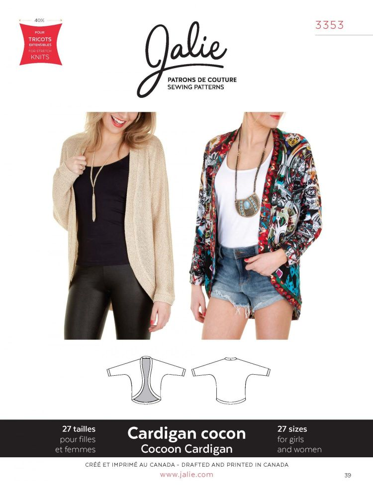 Jalie 3353 Cocoon Cardigan Pattern For Girls and Women