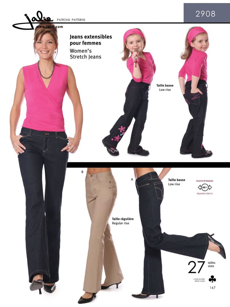 Jalie 2908 Stretch Jeans Pattern For Girls and Women