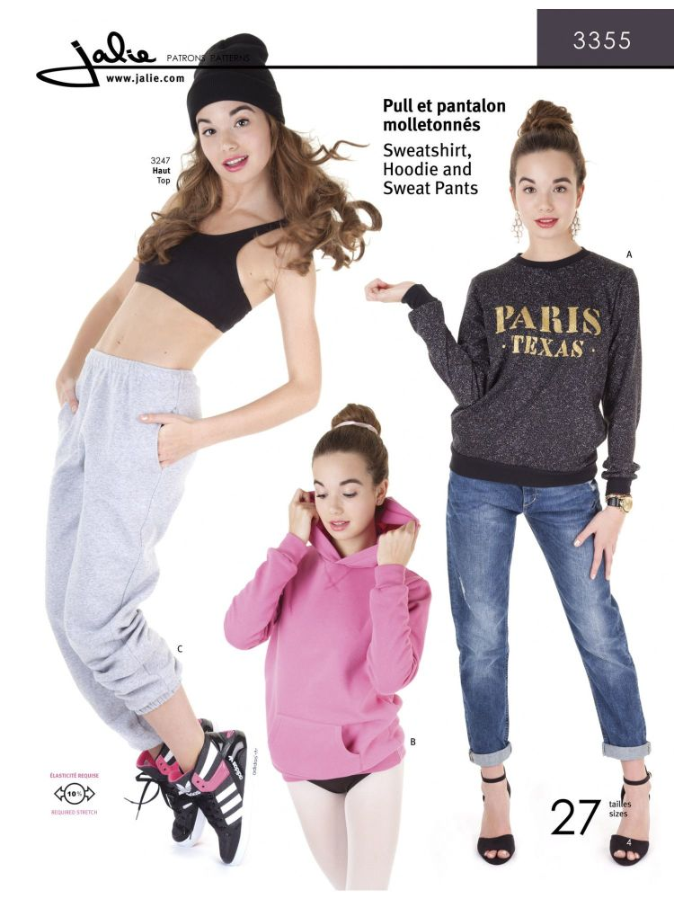 Jalie 3355 Sweatshirt, Hoodie and Sweat Pants Pattern For Girls And Women