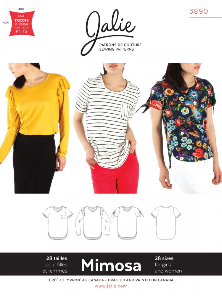 Jalie 3890 Mimosa Scoopneck T-Shirt Pattern For Girls And Women