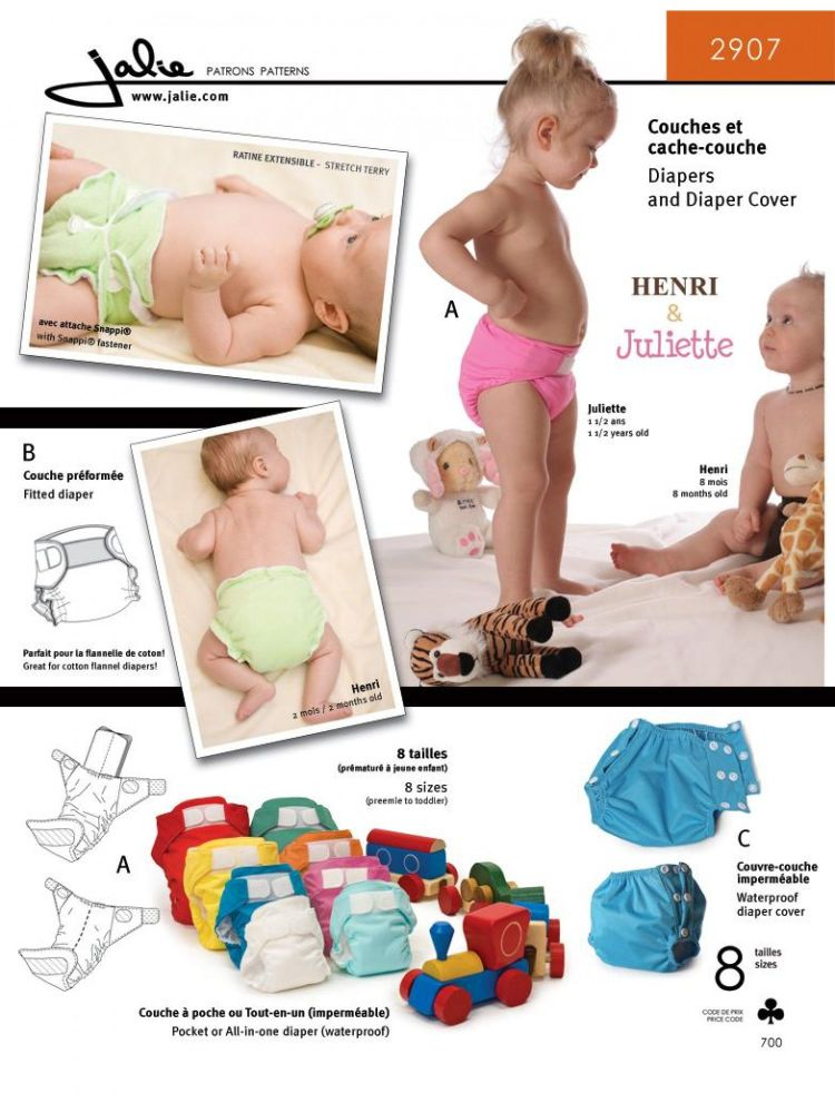 Jalie 2907 Cloth Diaper Pattern For Babies