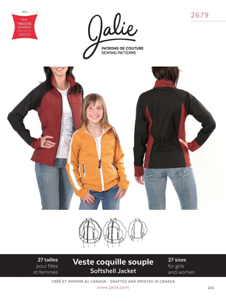 Jalie 2679 Softshell Jacket Pattern For Girls and Women