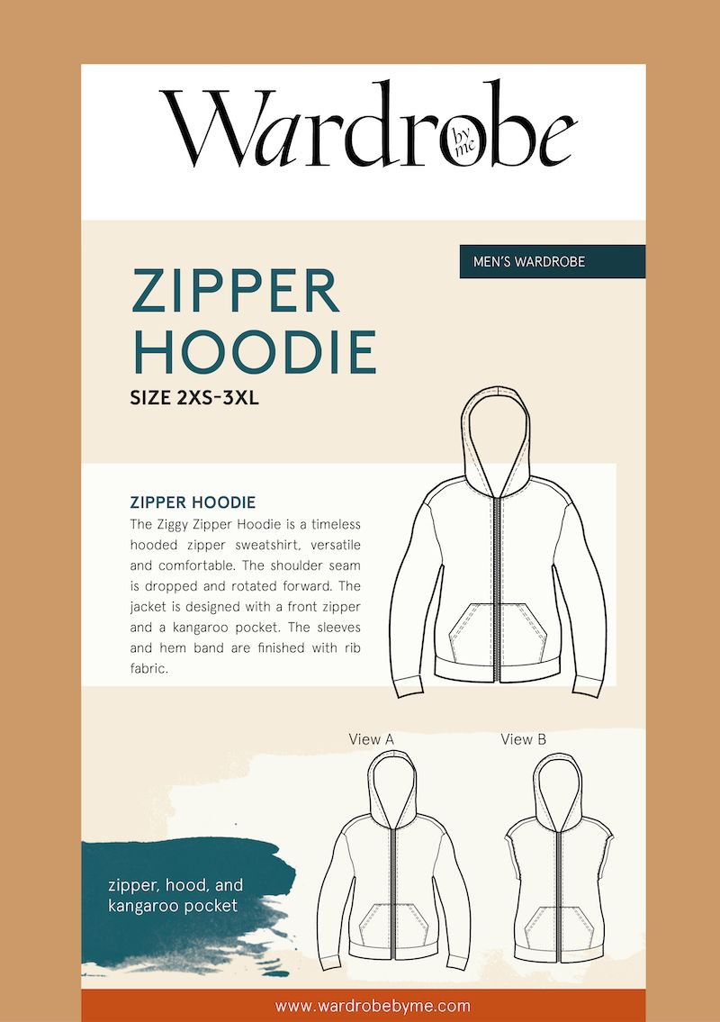 Wardrobe By Me Zipper Hoodie For Men Sewing Pattern