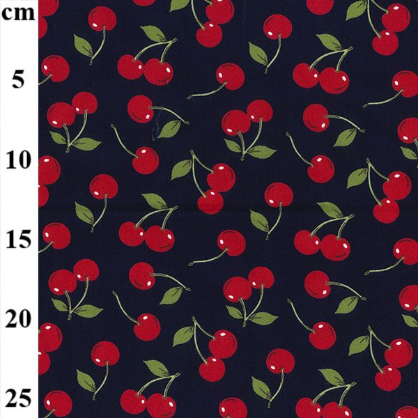 Cotton Poplin cherries Navy