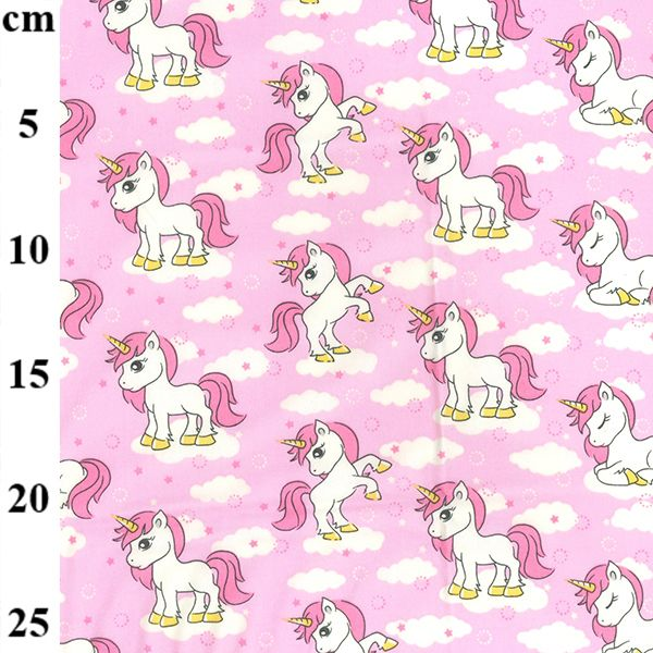 Cotton Poplin Unicorn Pink