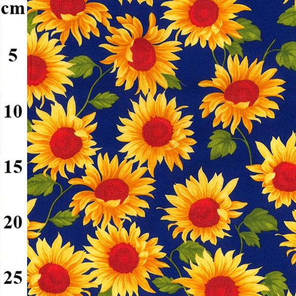 Cotton Poplin Sunflowers Navy