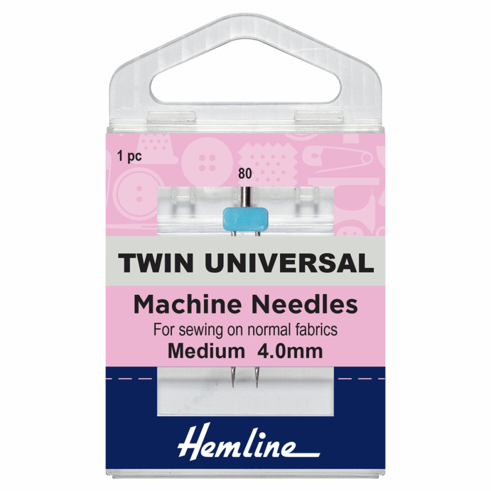 Hemline Twin Universal Needle 4.0mm 80/12 Medium