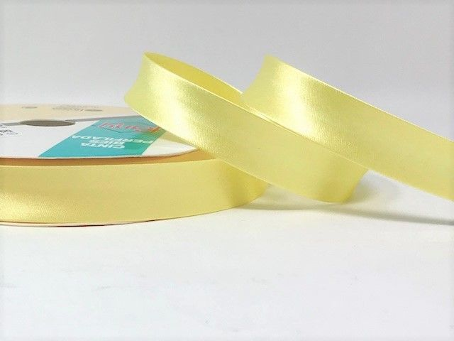 18mm Satin Bias Binding Lemon 065