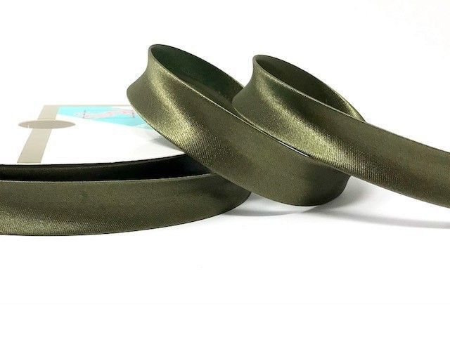 18mm Satin Bias Binding Olive 063
