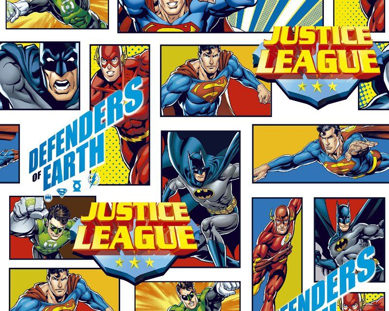 Little Johnny Cotton Fabric Justice League Defenders
