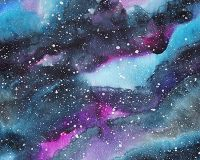 Little Johnny Cotton Fabric Galaxy Watercolour