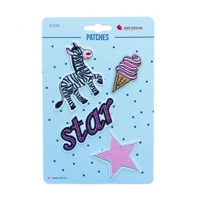 Iron on Patches Zebra Star Ice cream