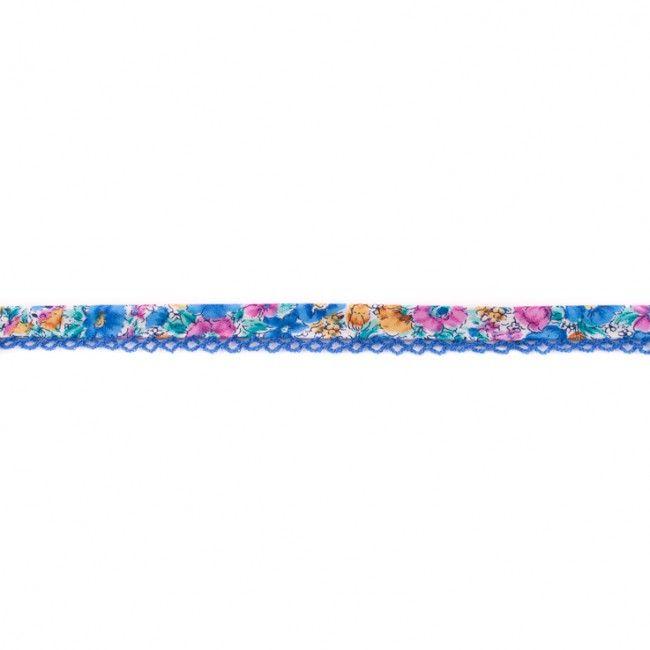 Lace Edge Floral Bias Binding 15mm Blue