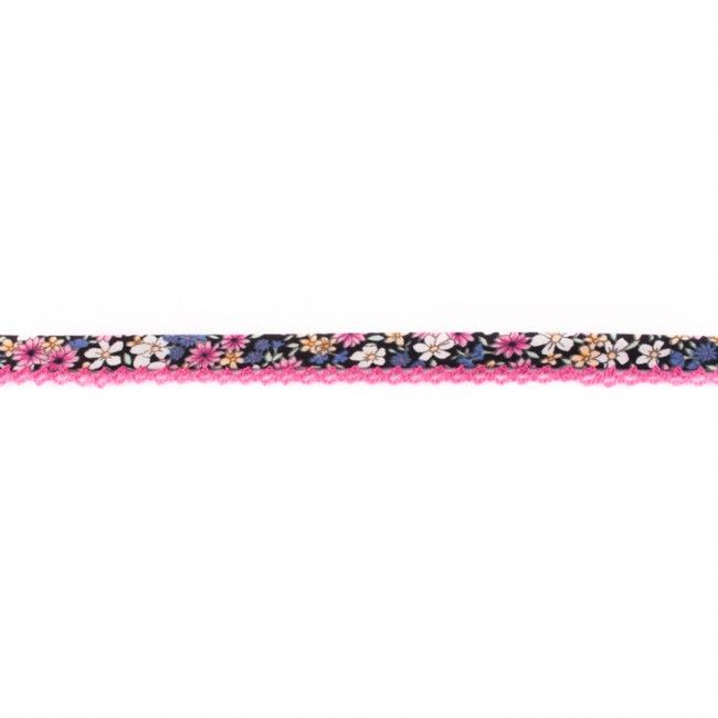 Lace Edge Floral Bias Binding 15mm Black Fuchsia