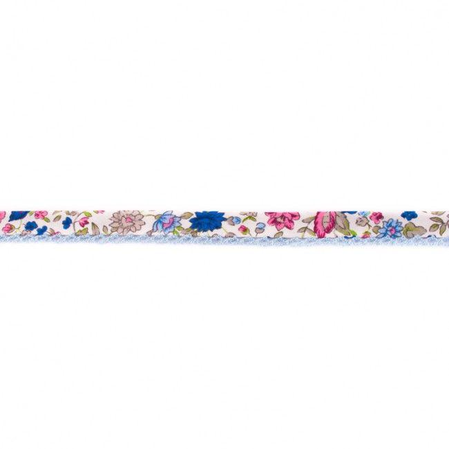 Lace Edge Floral Bias Binding 15mm White Blue