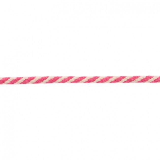 8mm Woven Cotton Cord Fuchsia