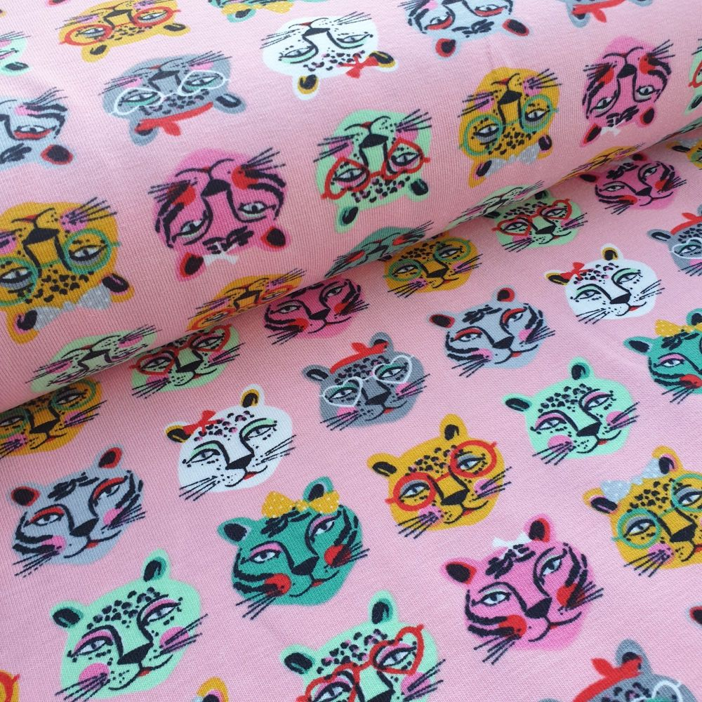 Cotton Jersey Fabric Cool Cats Rose