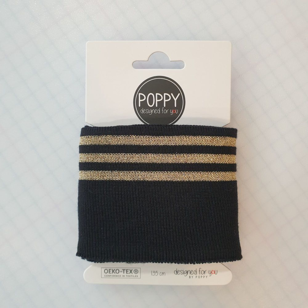 Cuffs Gold Stripe Black