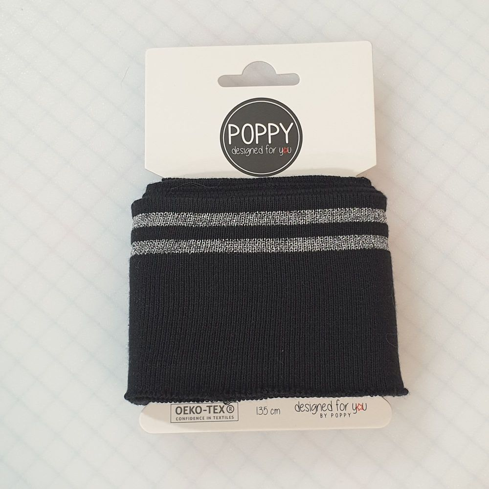 Cuffs Silver Stripe Black