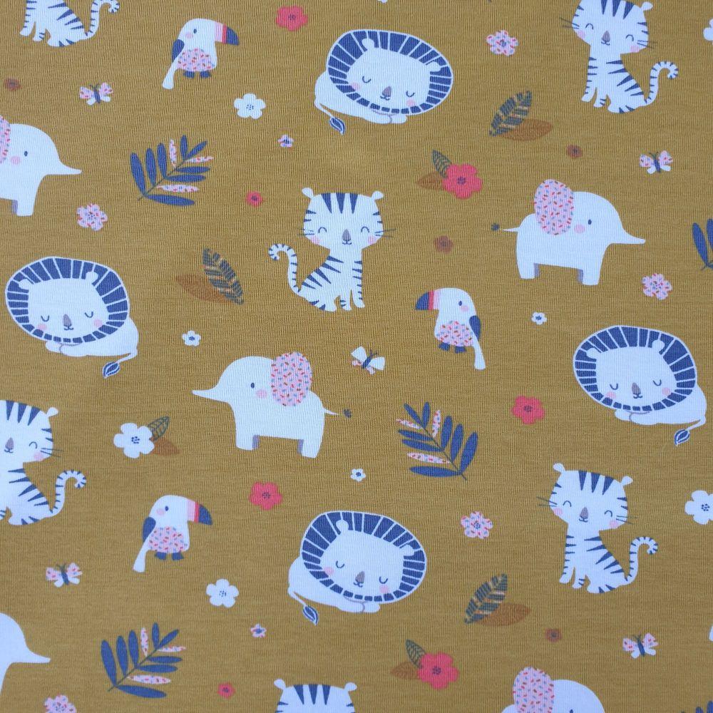 Cotton Jersey Fabric Jungle Animals Ochre