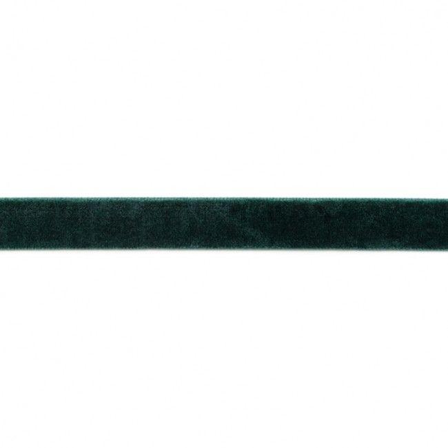 15mm Velvet Ribbon Bottle Green