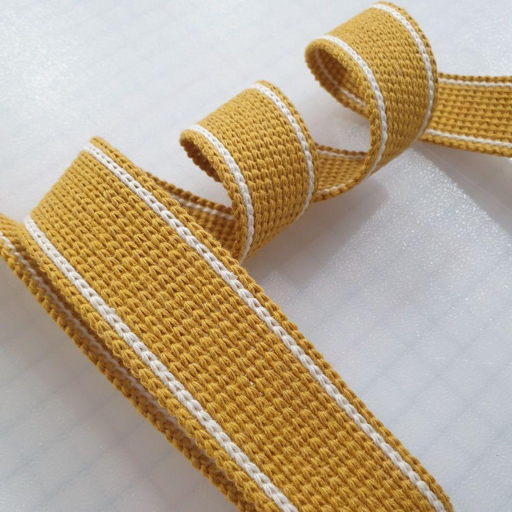 34mm Mustard 2-Stripe Cotton Blend Heavy Weight Webbing
