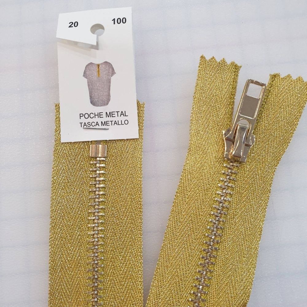 "8"" Metallic Gold Metal Zip"
