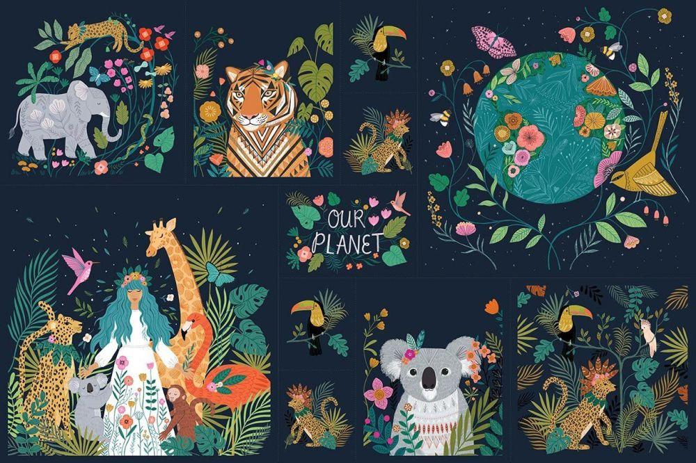 Dashwood Studio Our Planet Cotton Fabric Panel