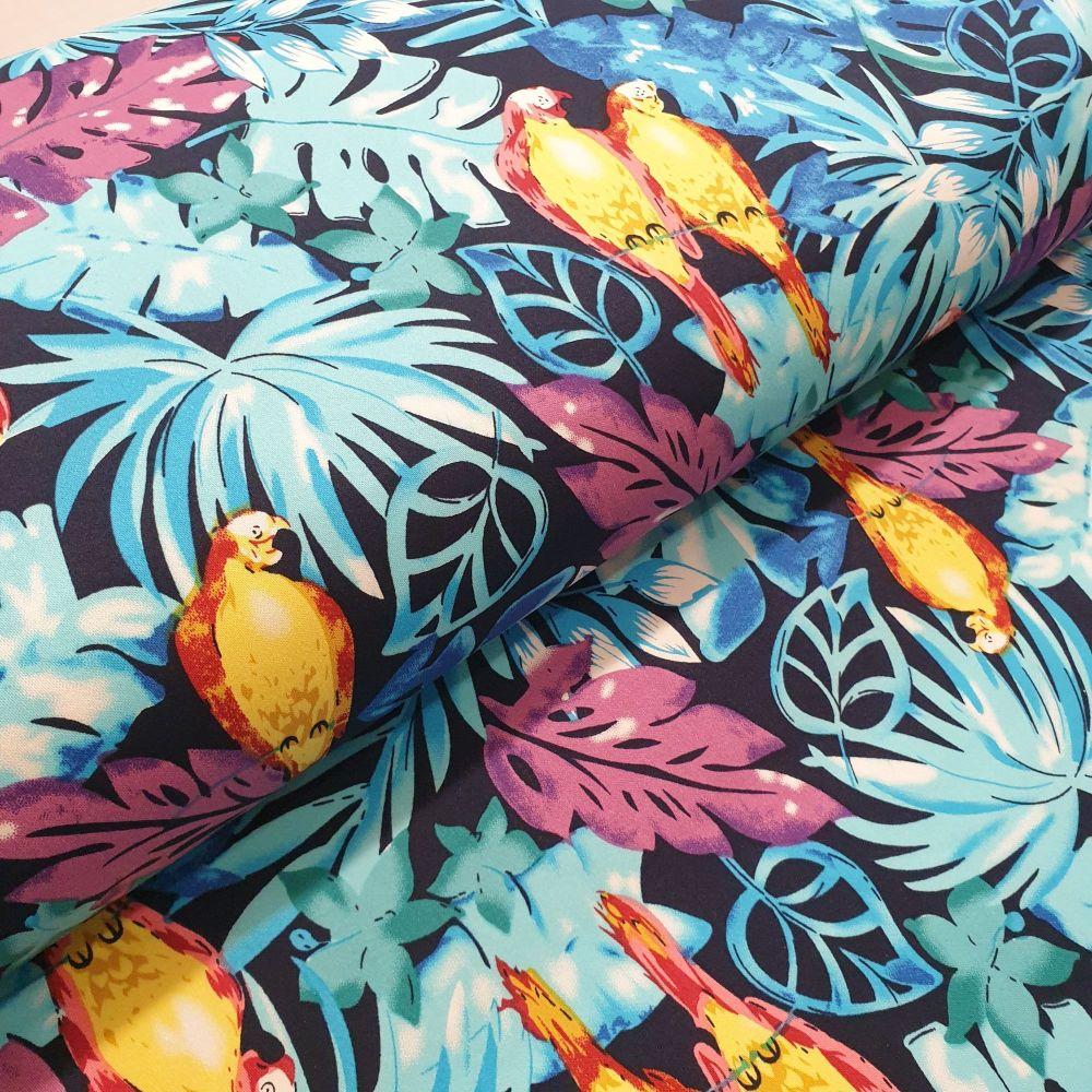 Cotton Sateen Fabric Tropical Parrots