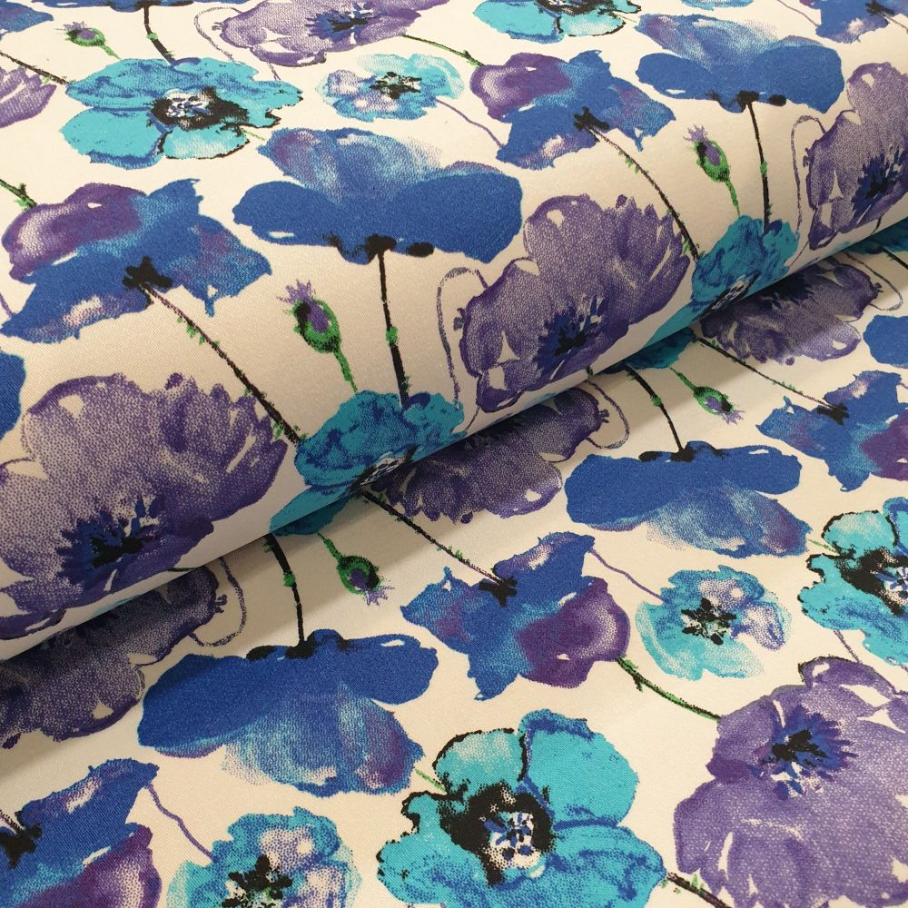Cotton Sateen Fabric Blue Poppies