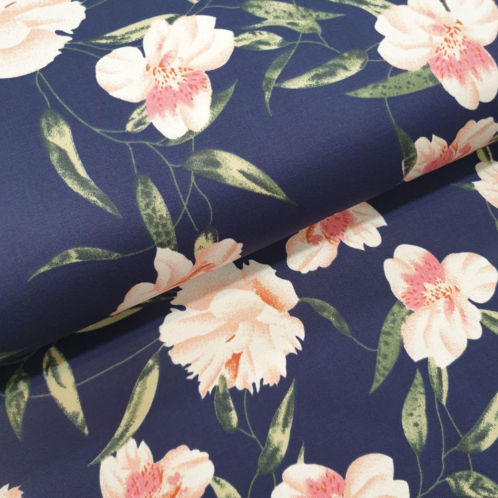 Cotton Sateen Fabric Navy Flowers