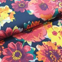 Cotton Lawn Fabric Big Flowers Navy RG5728/1