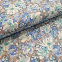 Cotton Lawn Fabric Grey/Blue Flowers RG463/A