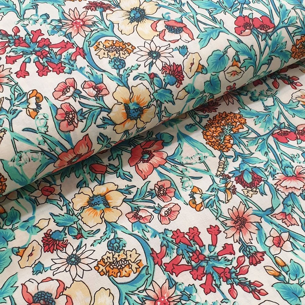 Cotton Lawn Fabric Vintage Flowers RG272/A