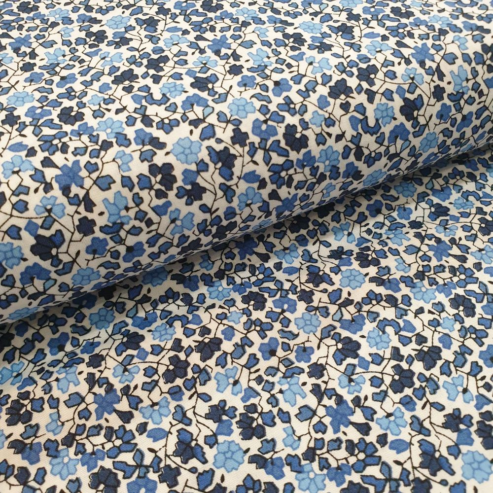 Cotton Lawn Fabric Mini Blue Flowers RG143/3