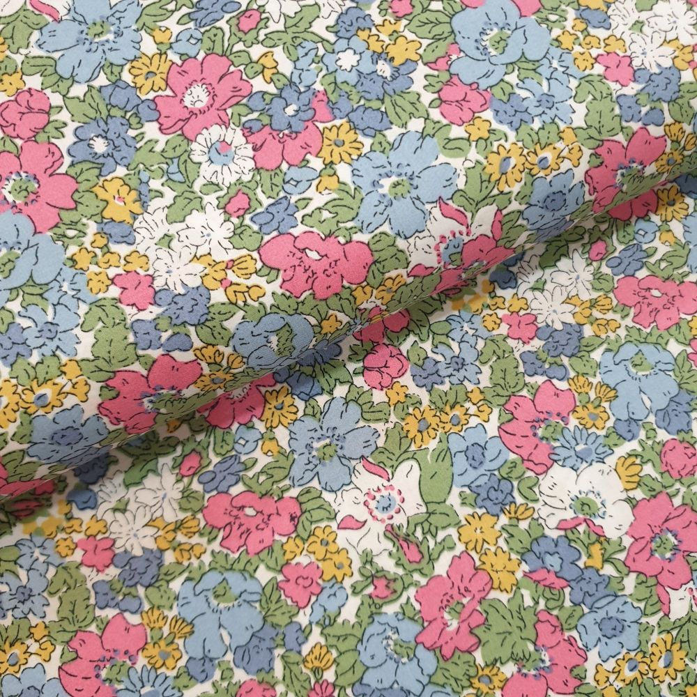 Cotton Lawn Fabric Blue/Pink Flowers RG555/A