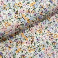 Cotton Lawn Fabric Florals On Cream RG550/A