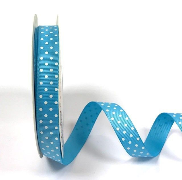 Bertie's Bows 16mm Grosgrain Ribbon with White Polka Dots Turquoise 06