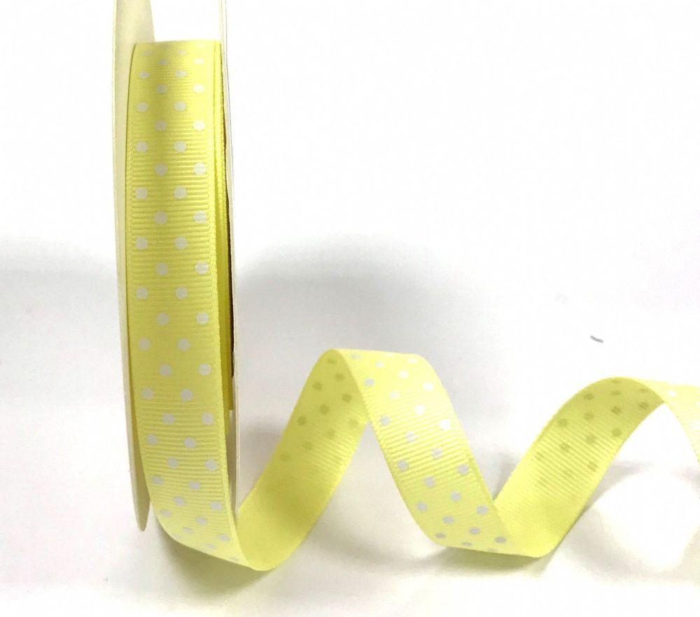 Bertie's Bows 16mm Grosgrain Ribbon with White Polka Dots Lemon 10