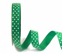 Bertie's Bows 16mm Grosgrain Ribbon with White Polka Dots Emerald 14