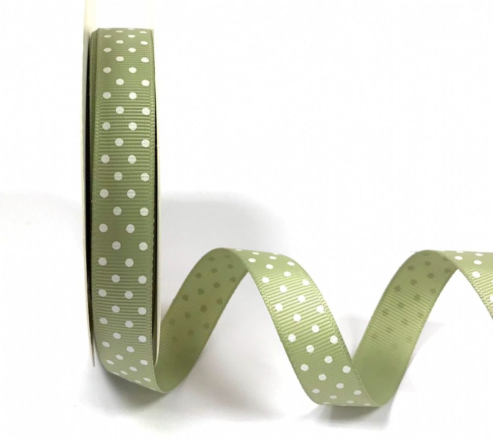 Bertie's Bows 16mm Grosgrain Ribbon with White Polka Dots Soft Sage 22