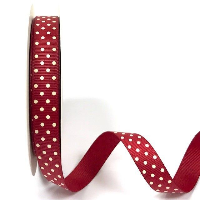 Bertie's Bows 16mm Grosgrain Ribbon with White Polka Dots Cranberry 27