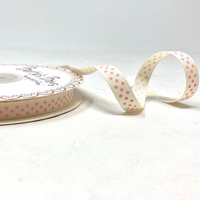Bertie's Bows 9mm Grosgrain Ribbon Polka Dots Ivory Pink 18