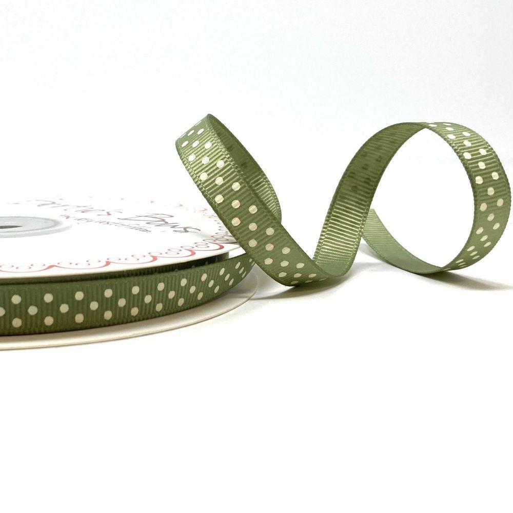 Bertie's Bows 9mm Grosgrain Ribbon Polka Dots Soft Sage 22