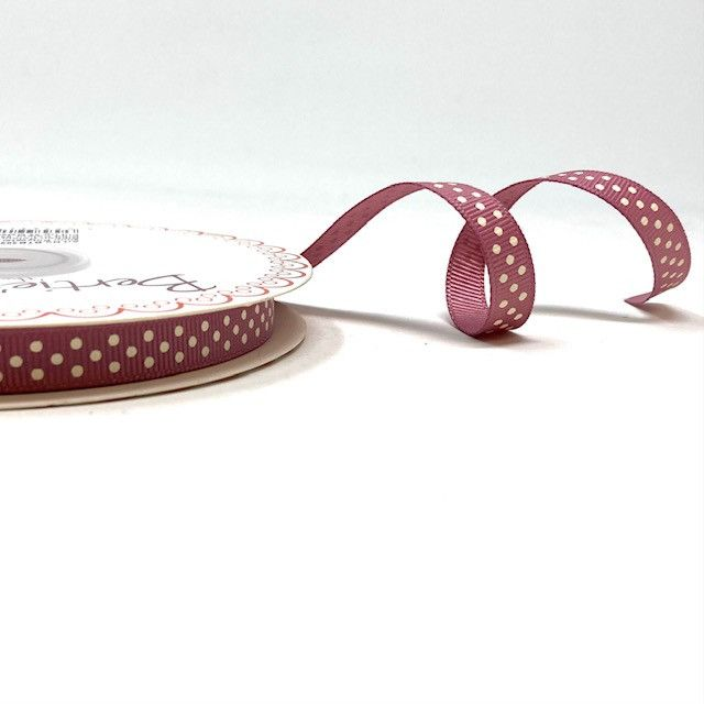 Bertie's Bows 9mm Grosgrain Ribbon Polka Dots Antique Rose 29