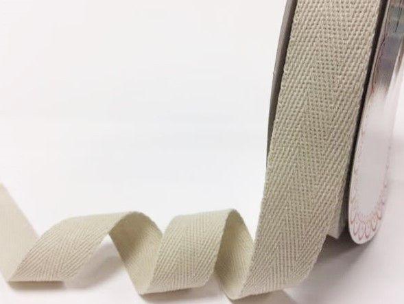 25mm Bertie's Bows Cotton Herringbone Webbing Light Natural