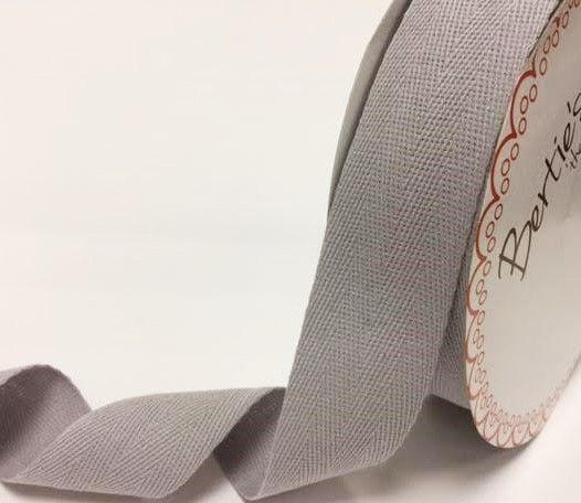 40mm Bertie's Bows Cotton Herringbone Webbing Silver Grey