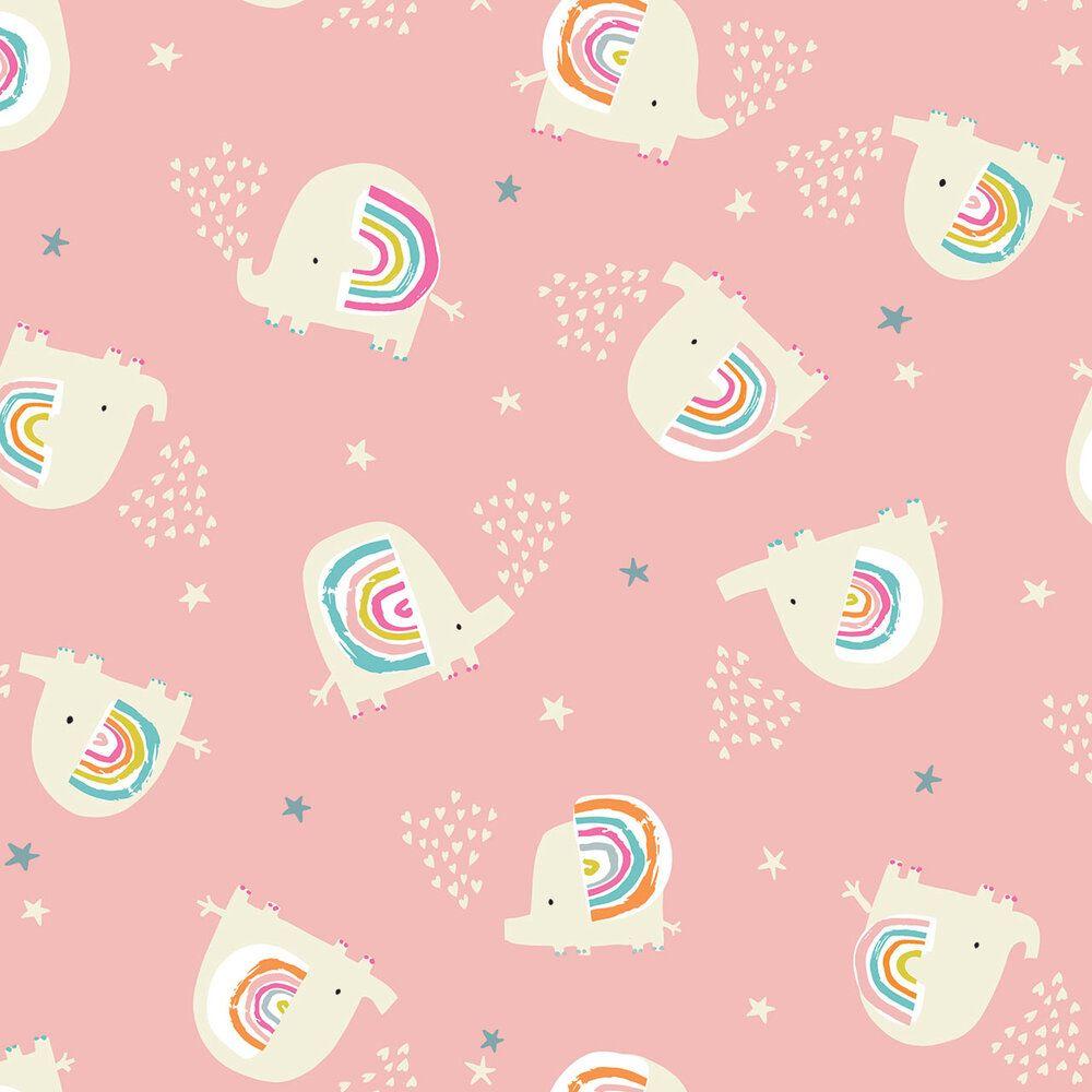 Dashwood Studio Rainbow Friends Cotton Fabric Elephants 1791
